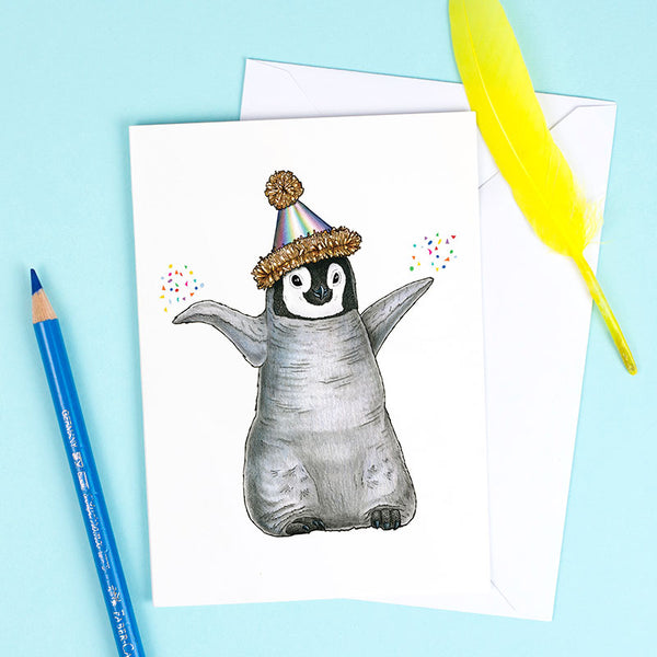 Penguin Chick in a Party Hat Greetings Card by Alice Tams
