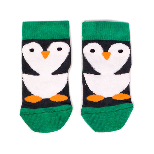 Penguin Baby Socks in Black & Green