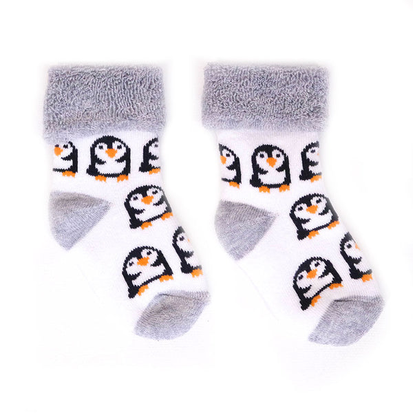 Towelling Penguin Baby Socks