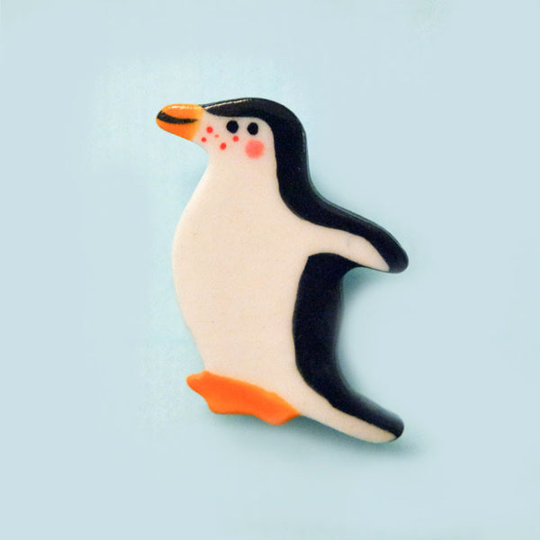 Penguin Ceramic Brooch by Miss Marple Makes