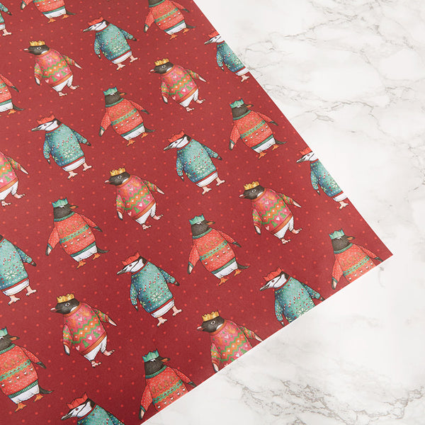 Penguin Parade Christmas Penguins Gift Wrap by Alice Tams