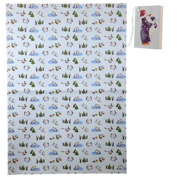 Winter Penguins Wrapping Paper & Tag (70cm x 100cm) by Jan Pashley