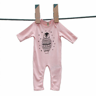 Percy the Baby Penguin Long Sleeved Baby Grow in Pink by Boodle