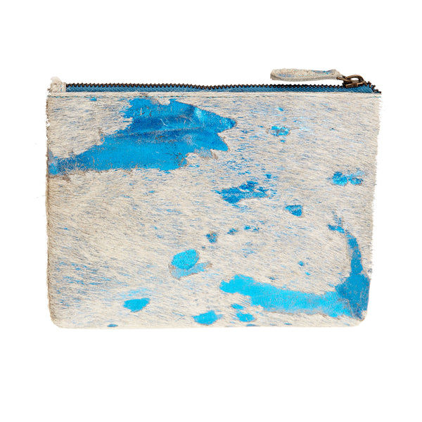 Bailey - Cowhide Leather Pouch - Azure
