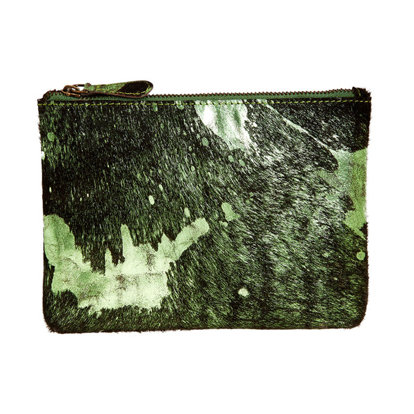 Bailey - Cowhide Leather Pouch - Shamrock/Black