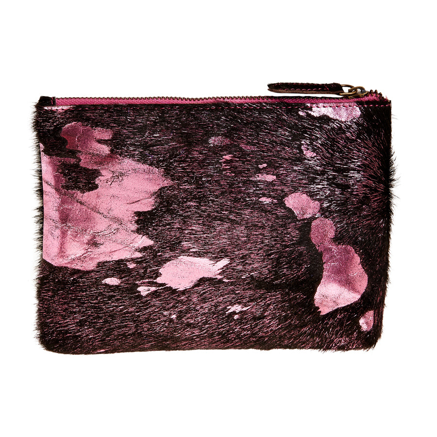 Bailey - Cowhide Leather Pouch - Bubblegum/Black