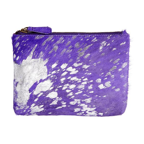 Bailey - Cowhide Leather Pouch - Amethyst