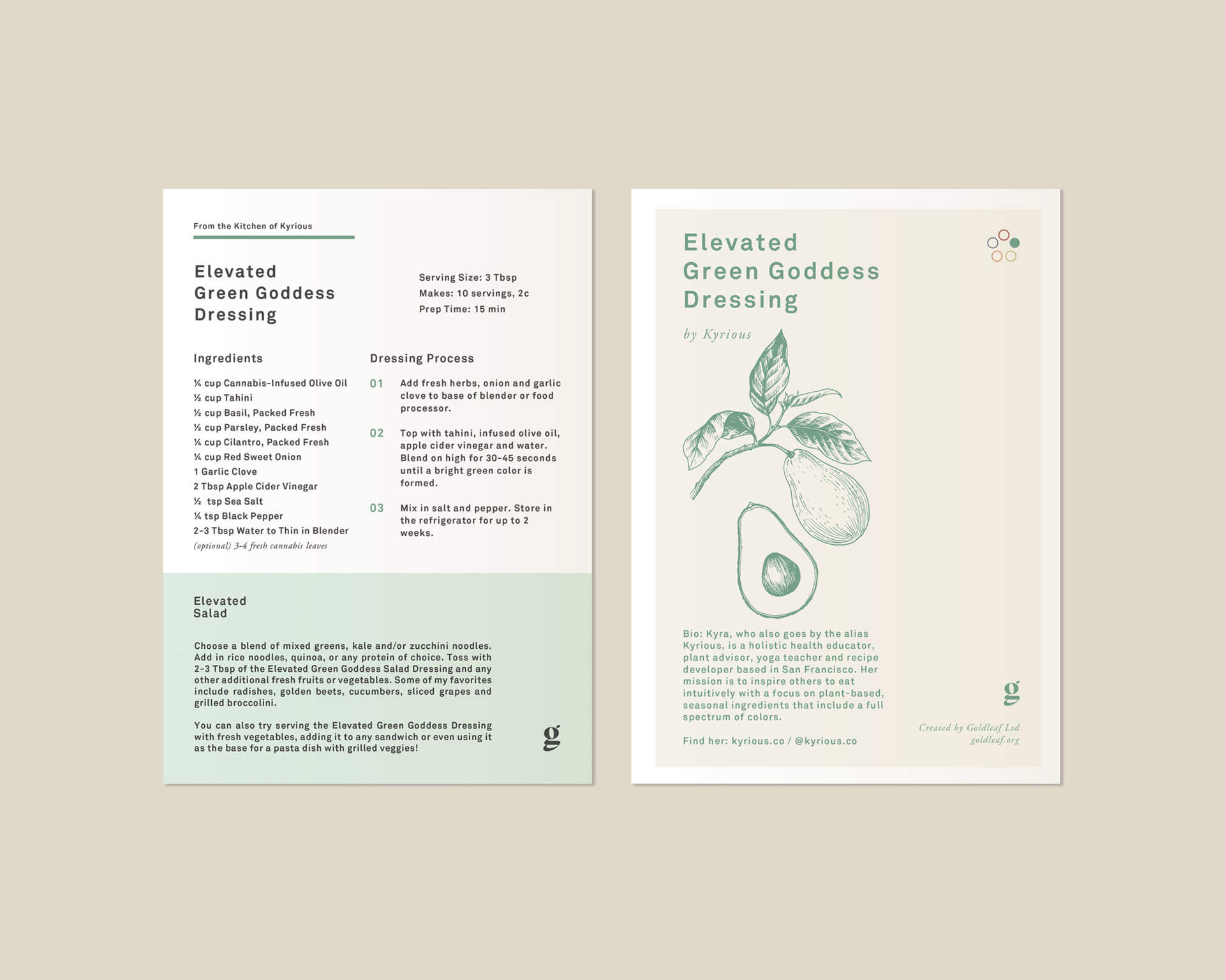 Elevated Green Goddess Dressing Card