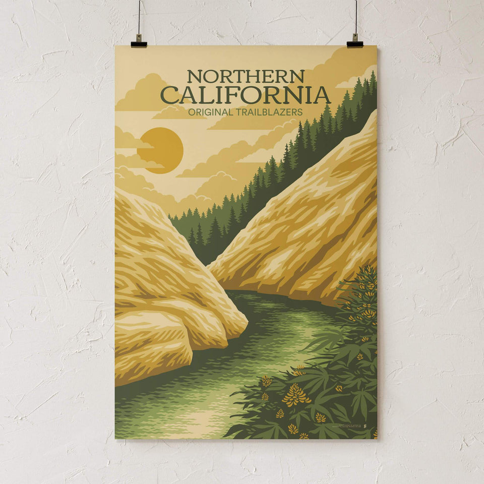 Northern California Vintage Travel Poster - Designed by Eugenia Mello - Cannabis Art Print - Marijuana Decor - Goldleaf