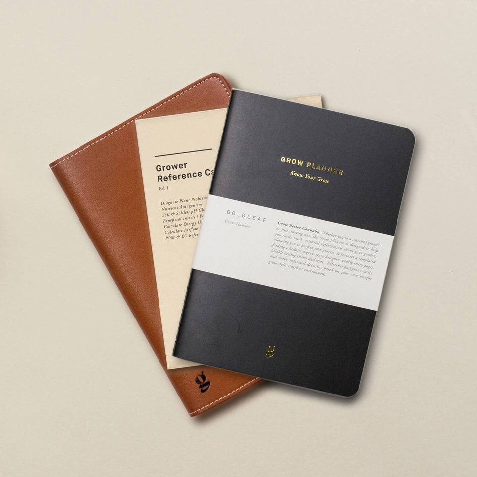 Goldleaf Grow Planner Cannabis Cultivation Journal and Leather Case Bundle