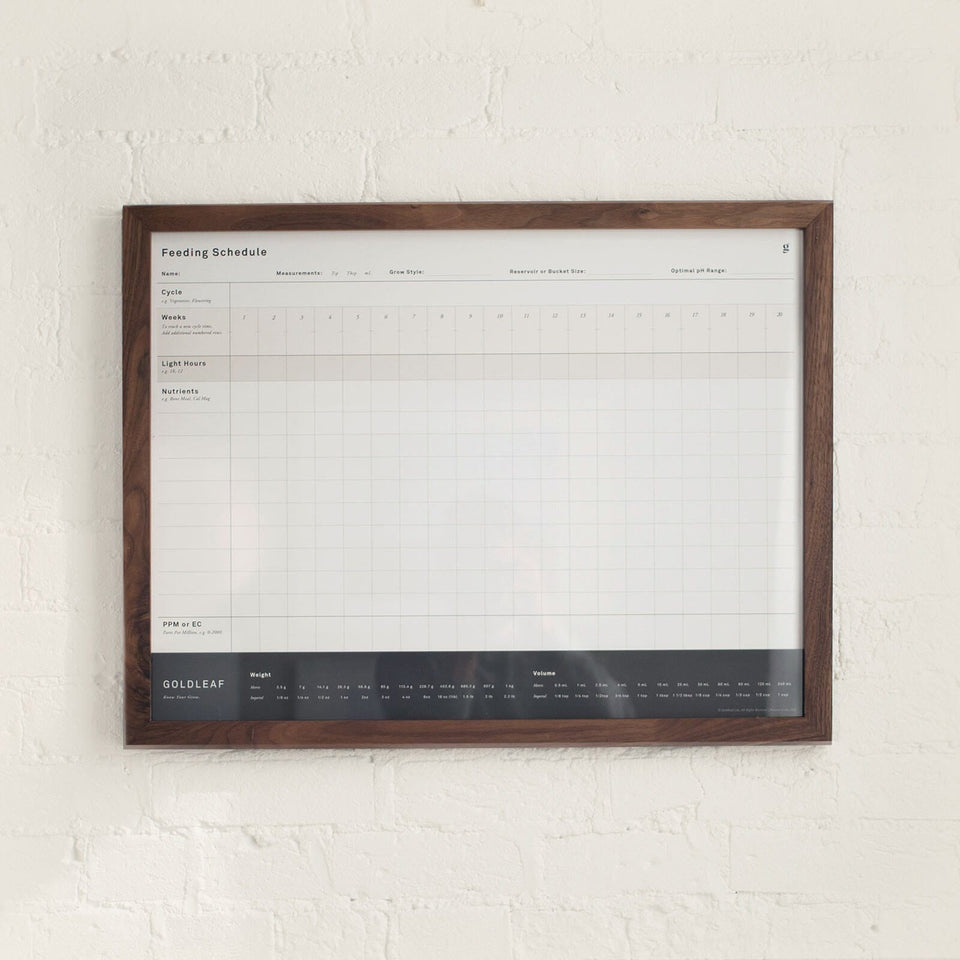 "Blank Feeding Schedule Wall Print - Fill In Your Own Nutrient Chart for Growing Marijuana - 18"" x 24"" - Goldleaf"
