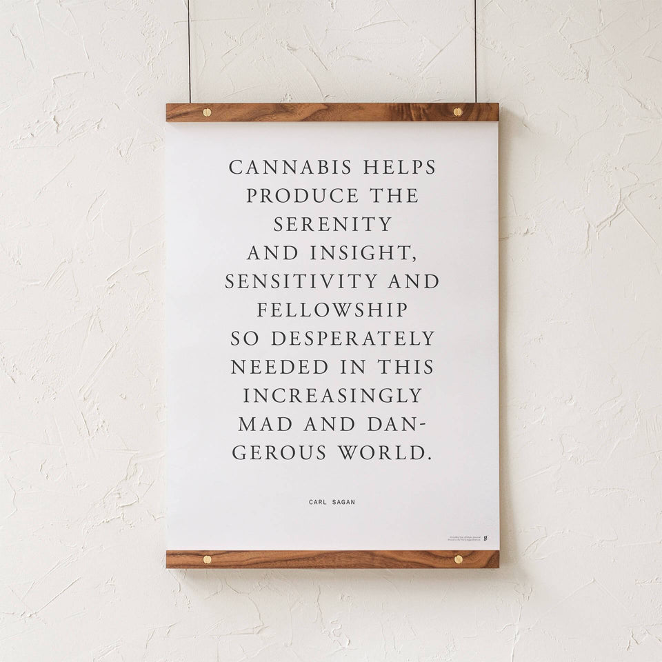 Carl Sagan Quote Print - Famous Cannabis Quote Poster - Modern and Minimal Marijuana Home Decor - Goldleaf