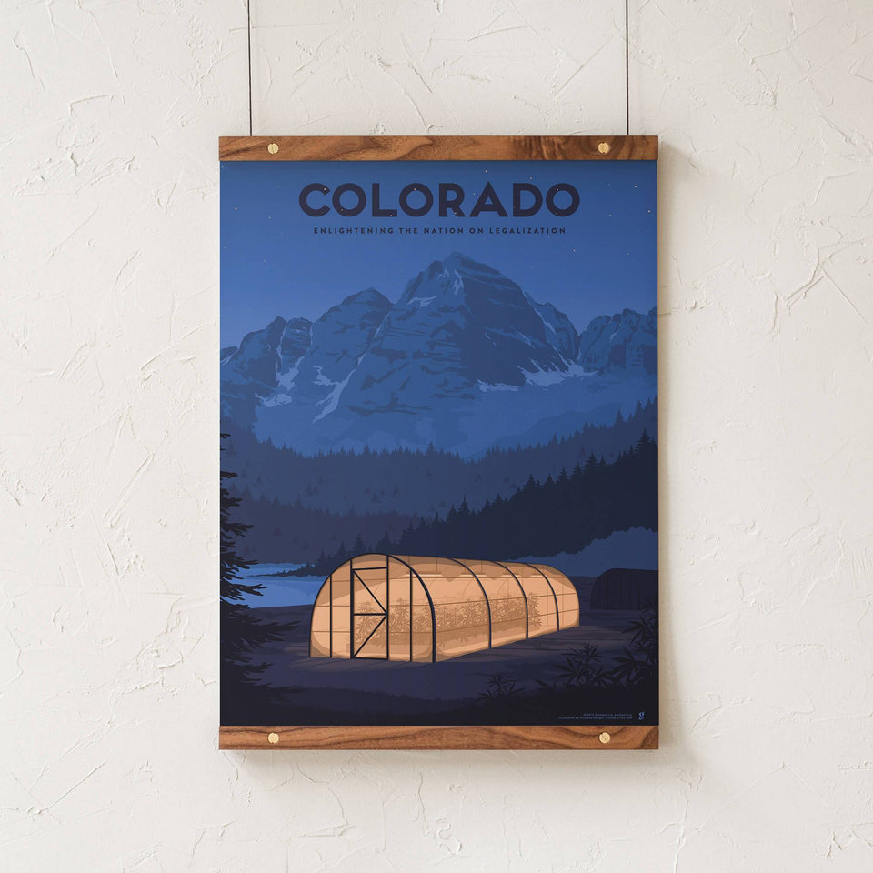 Colorado Vintage Travel Poster - Designed by Nicholas Moegly - Cannabis Art Print - Marijuana Decor - Goldleaf
