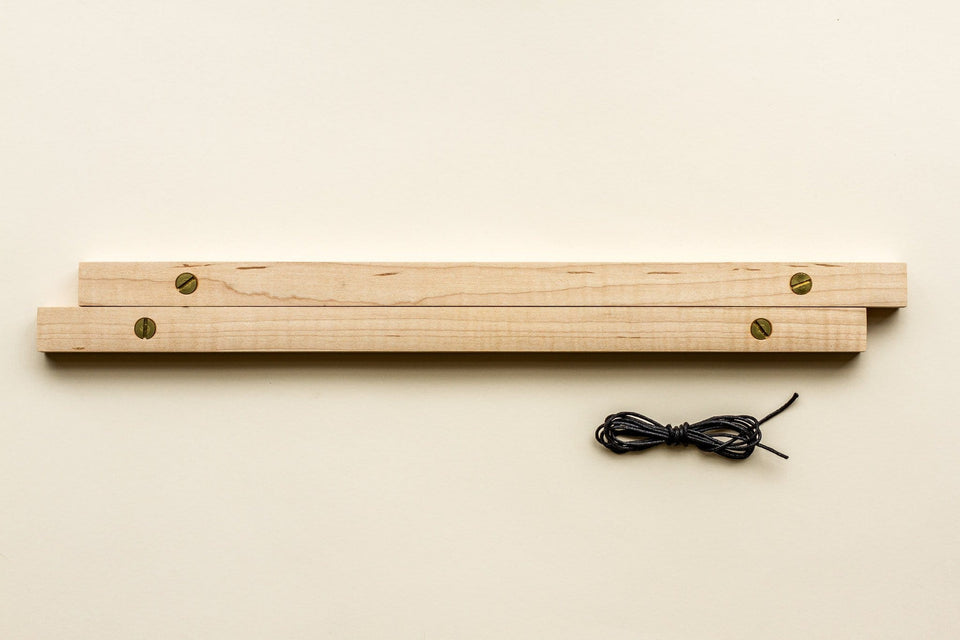 "Maple Poster Rails - Poster and Art Display System - Light Maple Wood, Brass Hardware - 18"" and 24"" - Goldleaf"