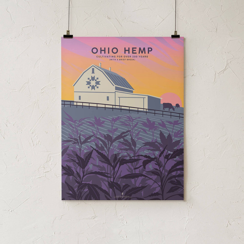 Ohio Hemp Vintage Travel Poster - Designed by John Vogl - Cannabis Art Print - Marijuana Decor - Goldleaf