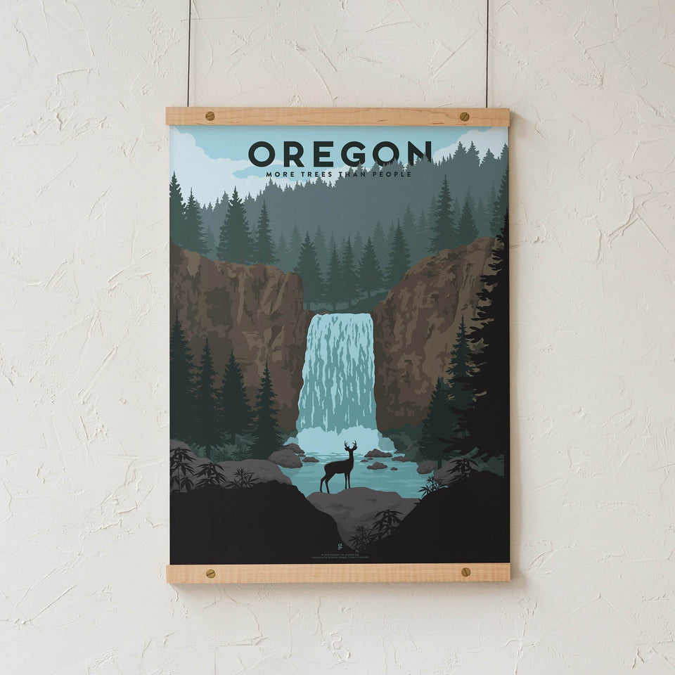 Oregon Vintage Travel Poster - Designed by Nicholas Moegly - Cannabis Art Print - Marijuana Decor - Goldleaf