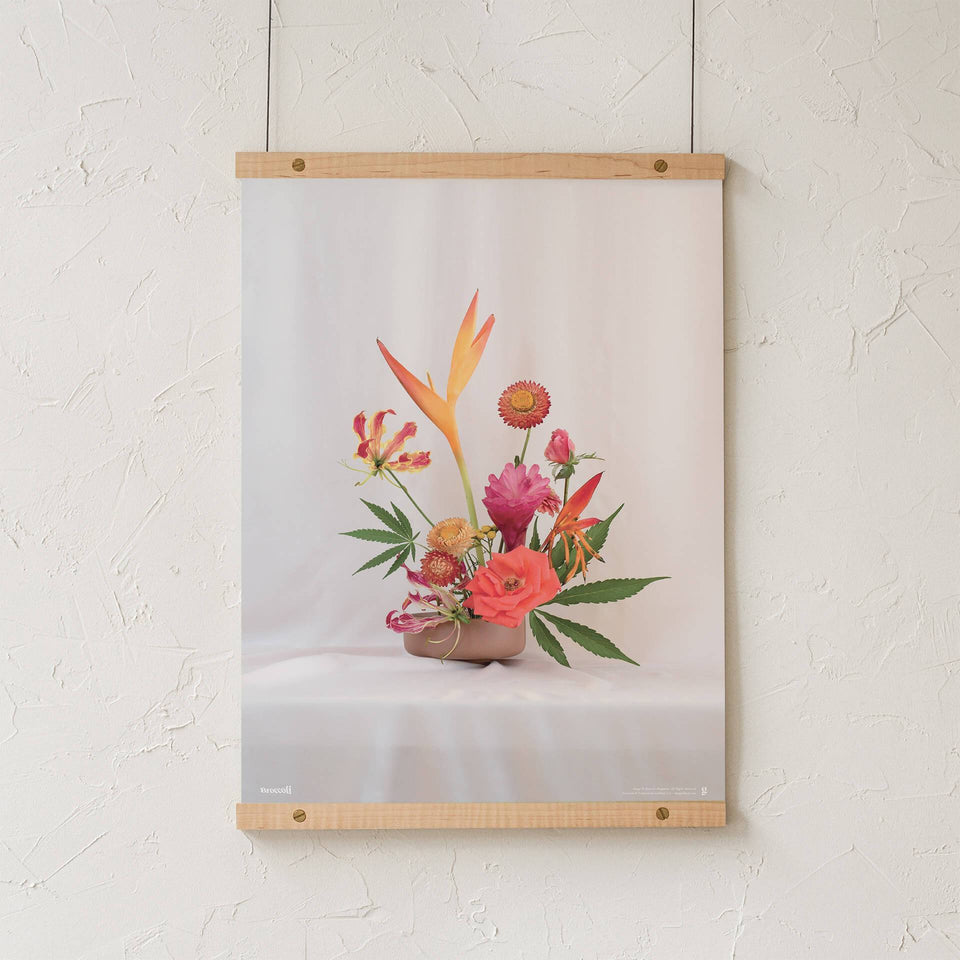 Red Ikebana Print - Cannabis Botanical Floral Arrangement Poster - Marijuana Art - Broccoli Magazine - Goldleaf