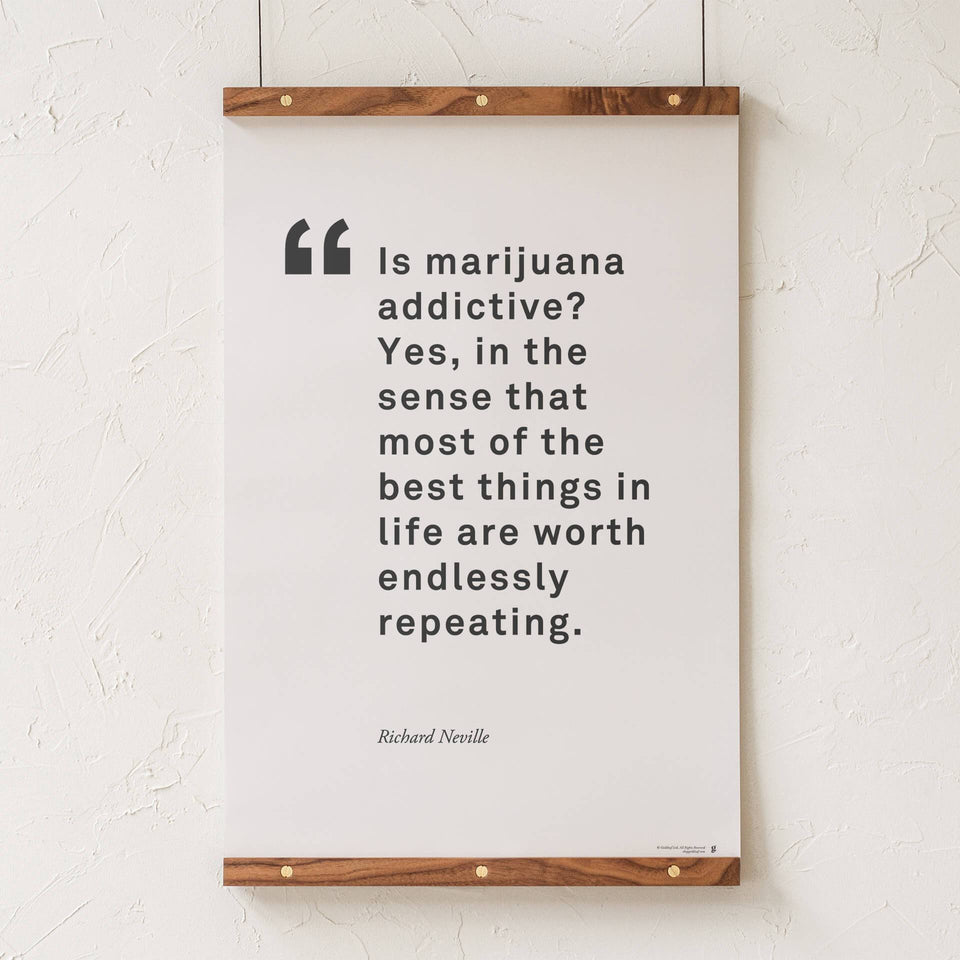 Richard Neville Quote Print - Cannabis Activist Quote Poster - Modern and Minimal Marijuana Home Decor - Goldleaf