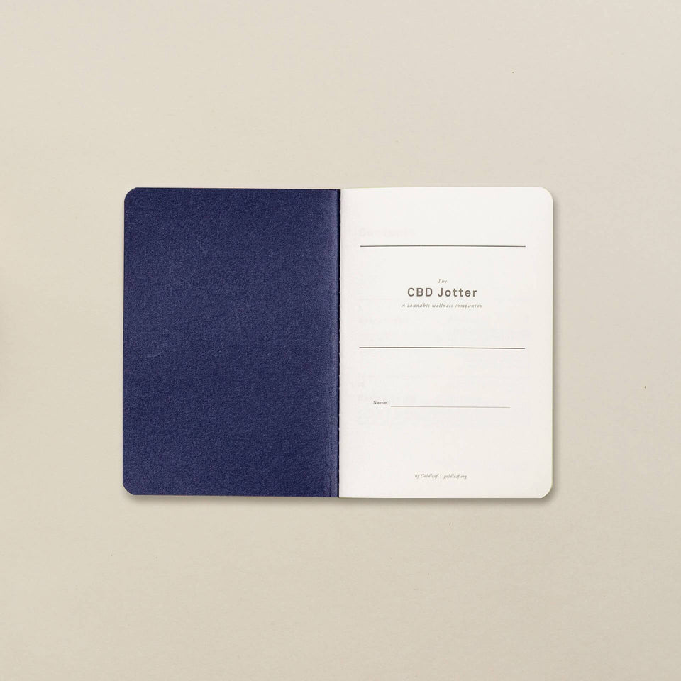 The CBD Jotter - CBD Wellness Logbook - Medical Cannabis Therapy Notebook - Pocket Size A6 Blue Cover- Goldleaf