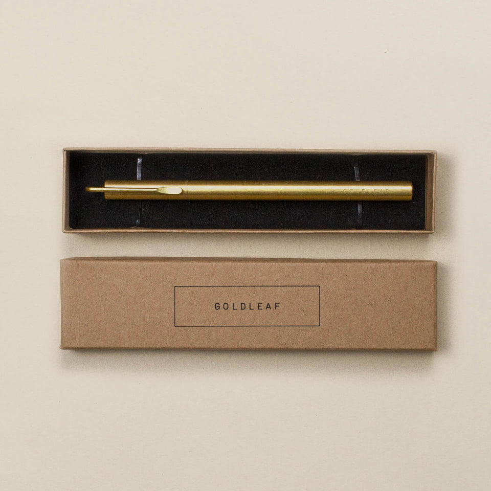 The Clip Pen - Luxury Brass Writing Device with Click - Black Rollerball Ink - Goldleaf