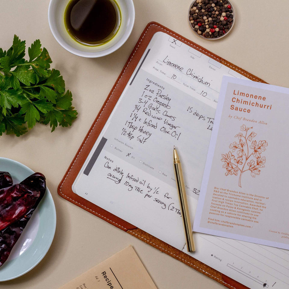 The Cooking Journal - A Cannabis Culinary Companion Recipe Notebook - Jamie Evans Collaboration - Goldleaf