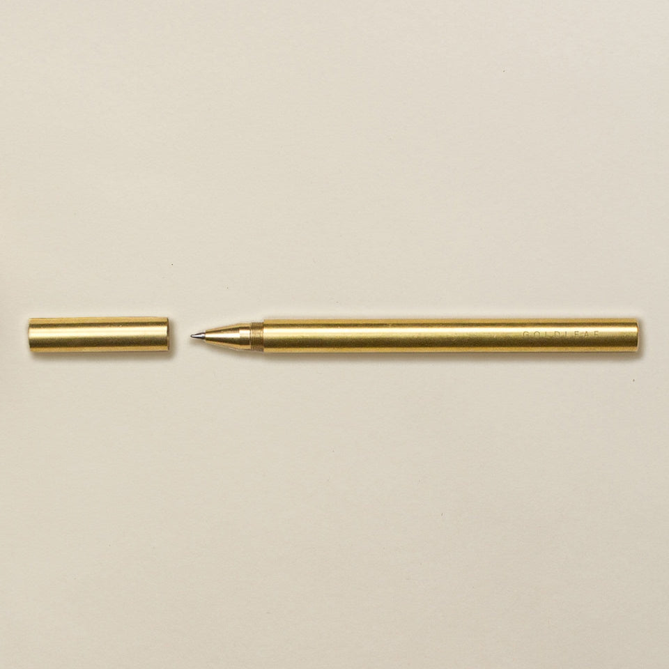 The Lab Pen - Modern and Minimalist Brass Pen - Black Rollerball Ink - Goldleaf