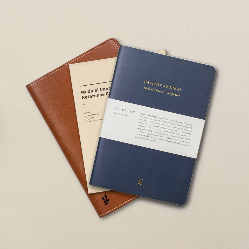 The Patient Journal - A Medical Cannabis Companion Logbook - Wellness Cannabis Journal - Blue Cover - Goldleaf