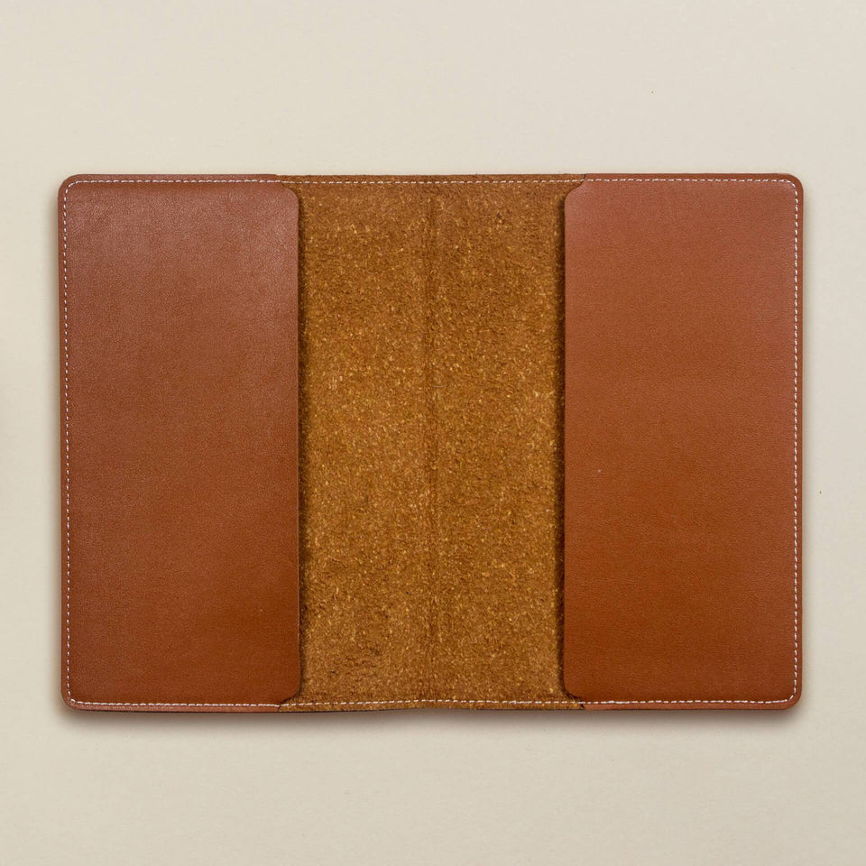 Vegan Leather Journal Cover - Faux Leather Case for A5 Journal - Saddle Brown, Cream Stitching - Goldleaf