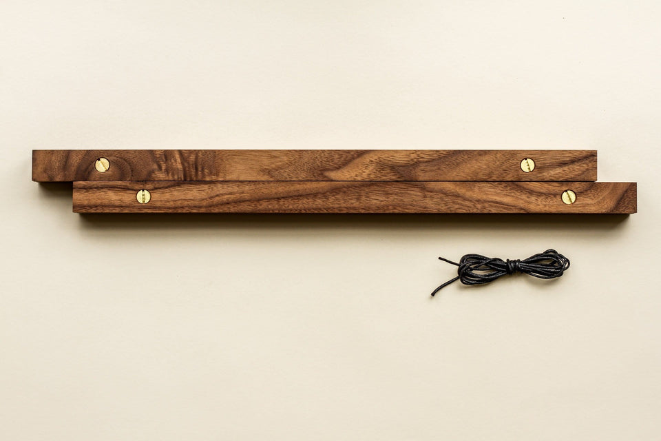 "Walnut Poster Rails - Poster and Art Display System - Dark Walnut Wood, Brass Hardware - 18"" and 24"" - Goldleaf"