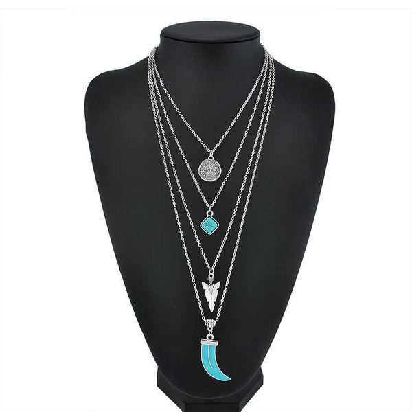 Bohemian 4 Layer Moon & Arrow Necklace Pendant
