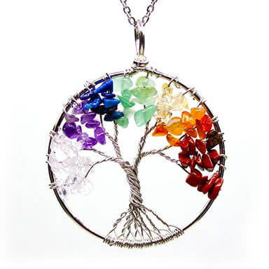 Wisdom Tree of life chakra necklace pendant rainbow white background