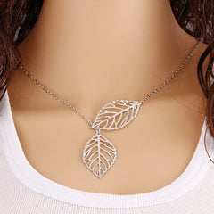 new leaf silver leaves necklace pendant on model