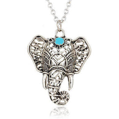 Silver Elephant Necklace Bohemian white background