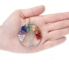 Wisdom Tree of life necklace pendant rainbow in front of open hand