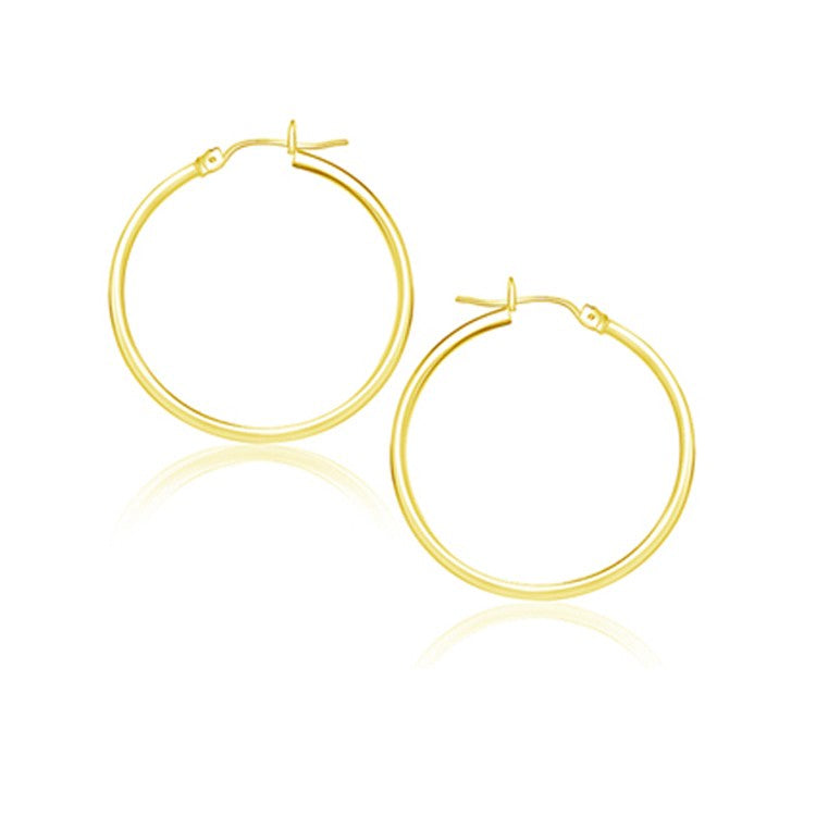 Classic Hoop Earrings in 14k Yellow Gold 25mm Diameter 2.0mm