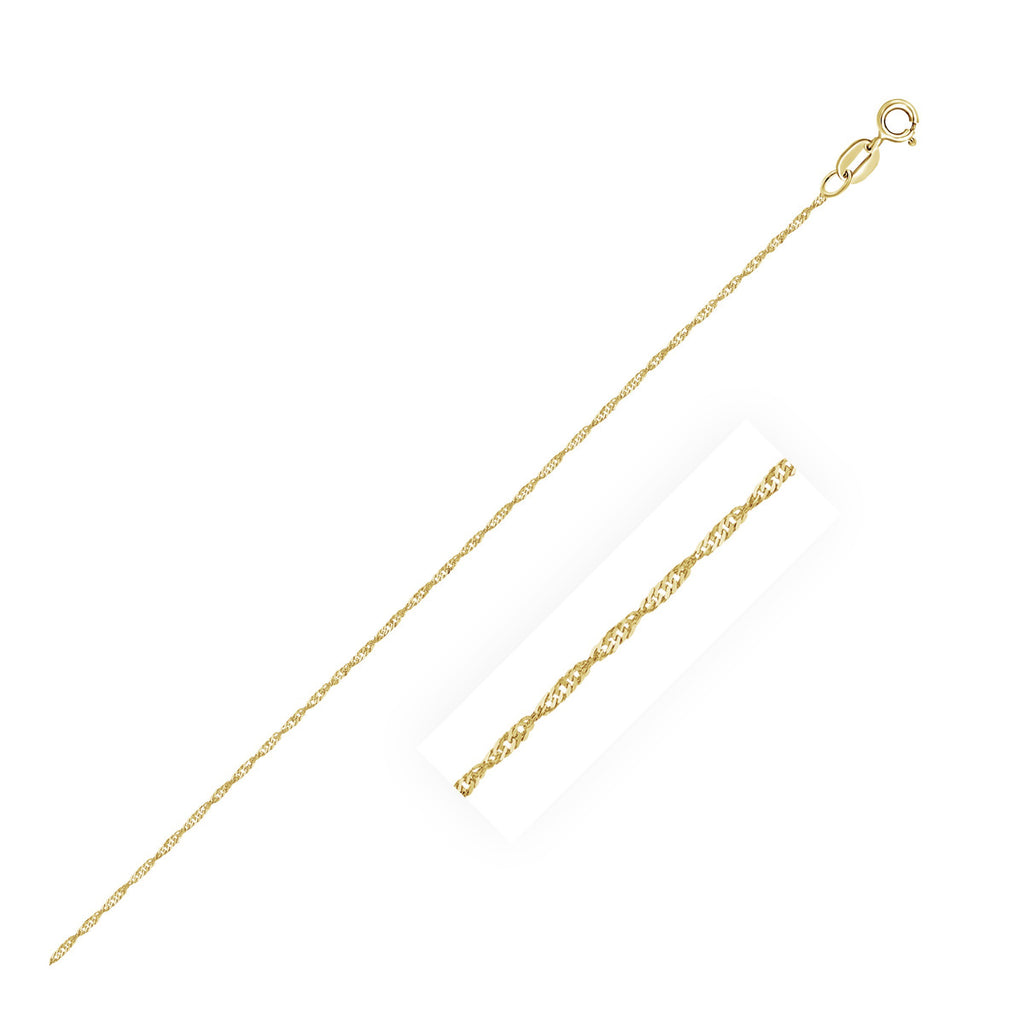 10k Yellow Gold Singapore Chain 0.8mm