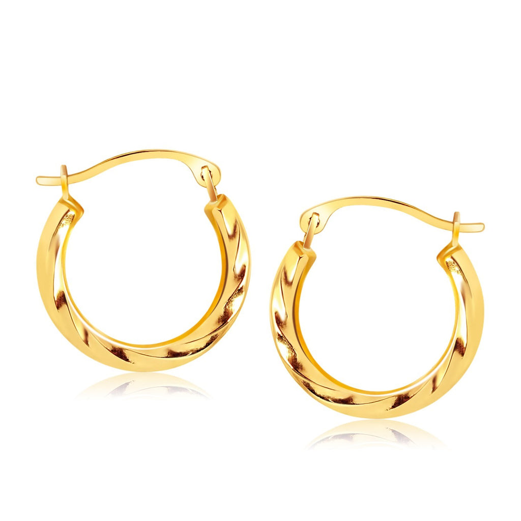 10k Yellow Gold Hoop Earrings in Textured Polished Style (5/8 inch Diameter)