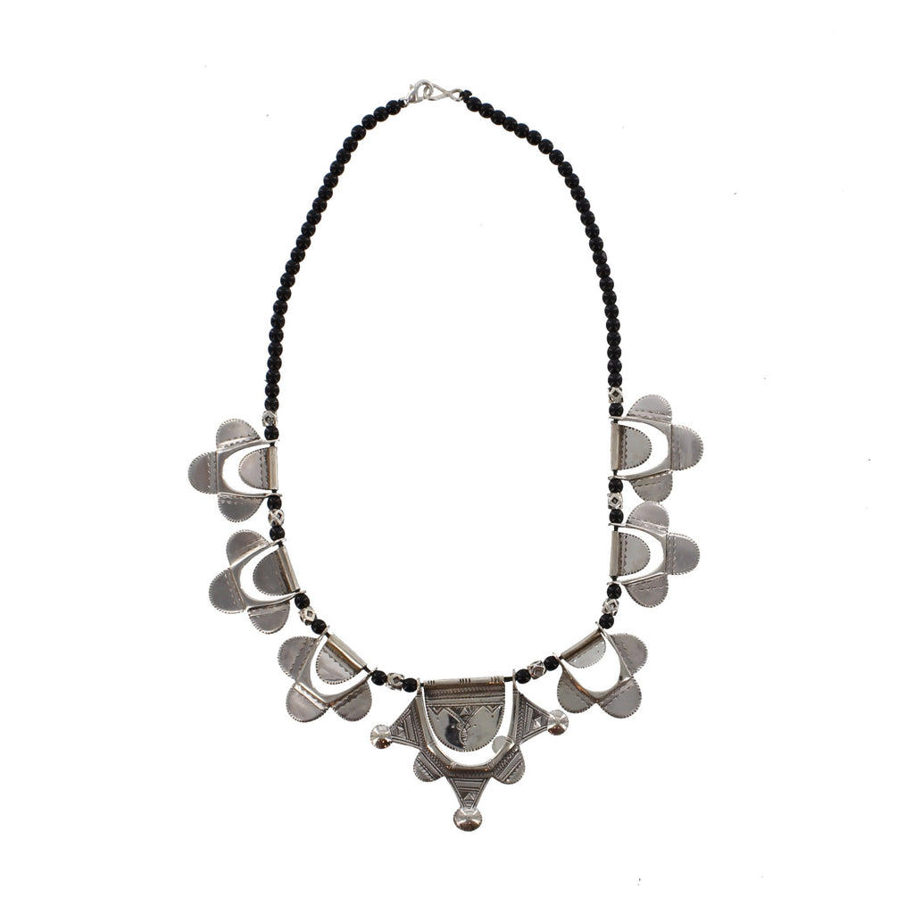HAMAISSA | Silver & Black Bead Necklace | The Azel Collection