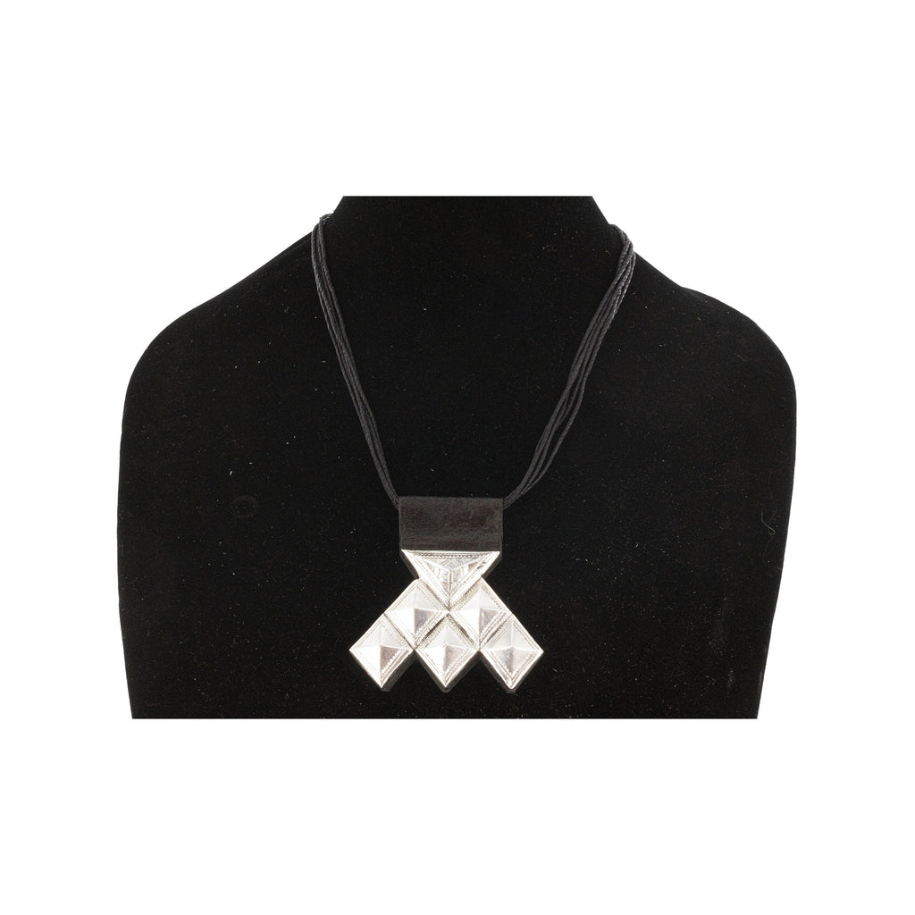 HAMAISSA  Geometric Silver Pendant with Raised Bail