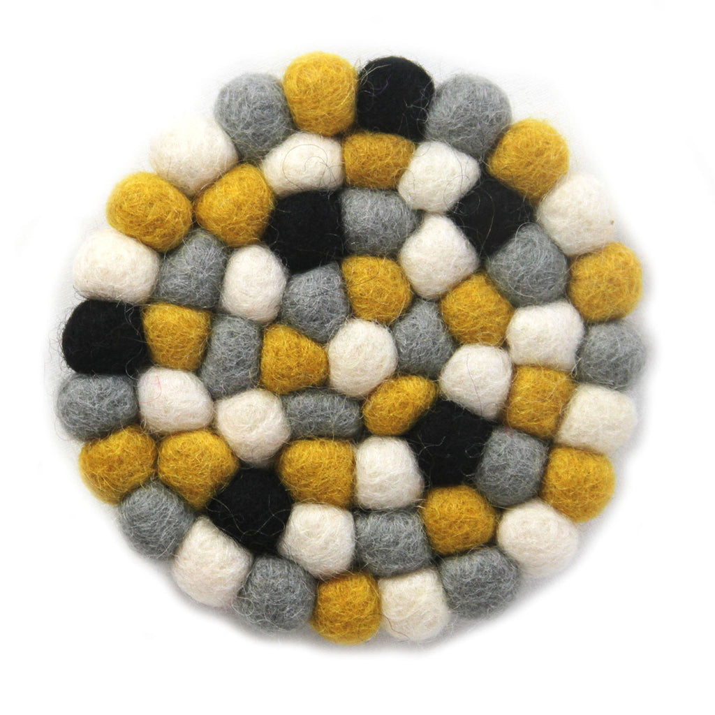 Hand Crafted Felt Ball Coasters from Nepal 4-pack, Mustard - Global Groove (T)