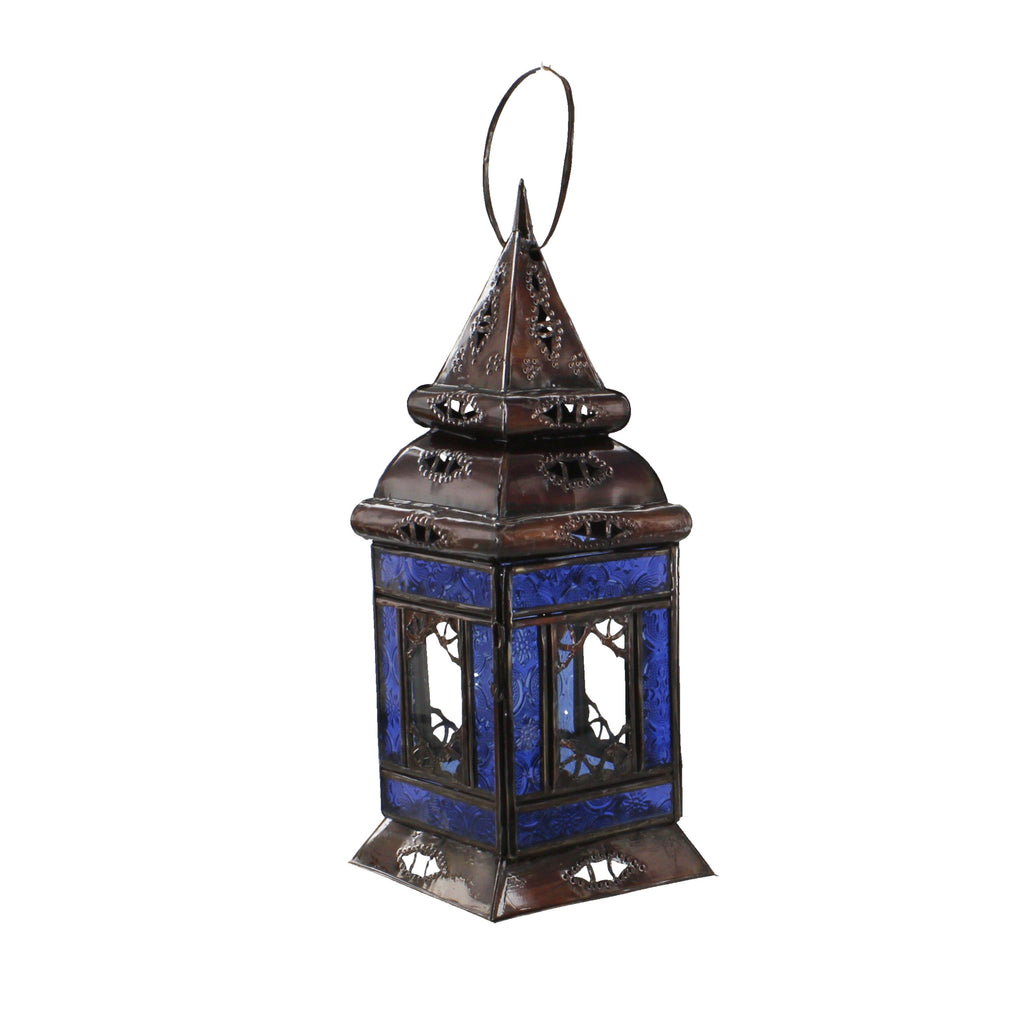 Moroccan Lamp Square Base Multi-Colour Glass