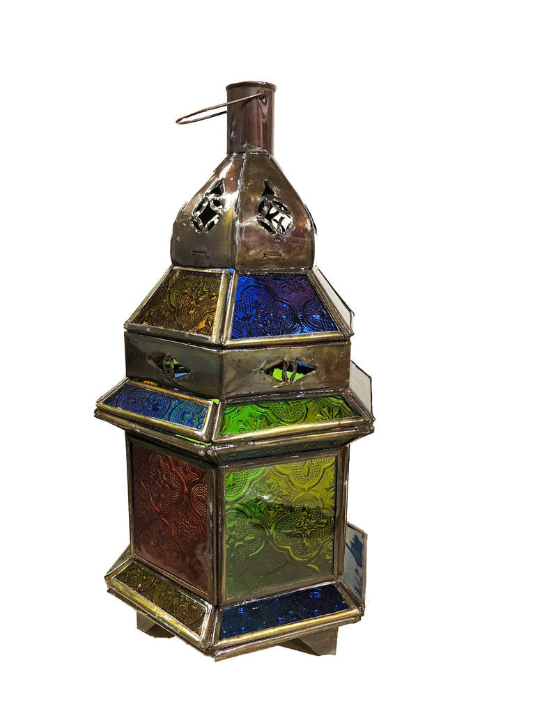 Moroccan Lamp Hex Base Tall Multi-Colour Glass