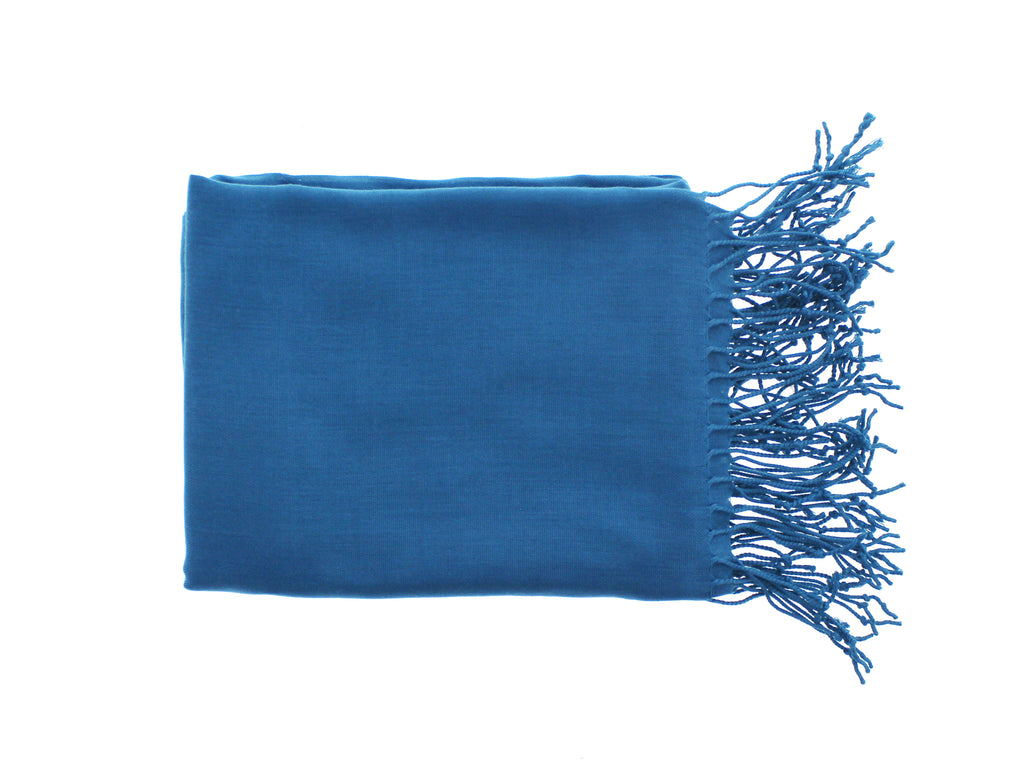 Pashmina-Style Womens Shawl 26 inches wide by 72 inches long Steel Blue Teal