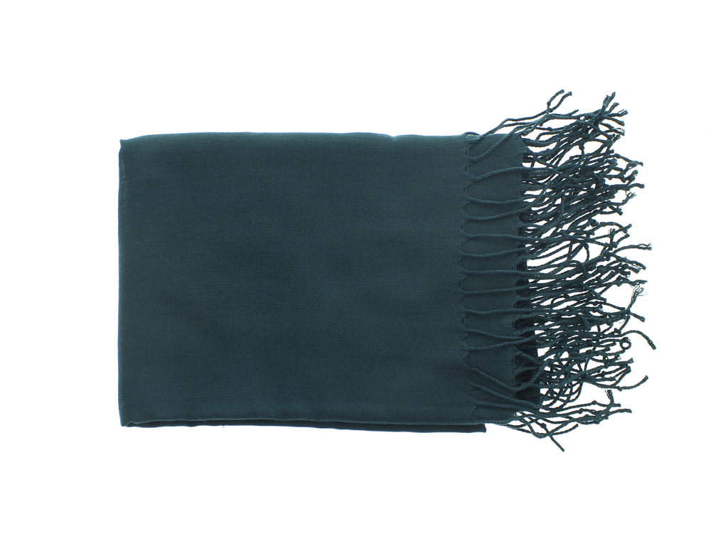 Pashmina-Style Womens Shawl 26 in wide by 72 in long Conifer Forest Green