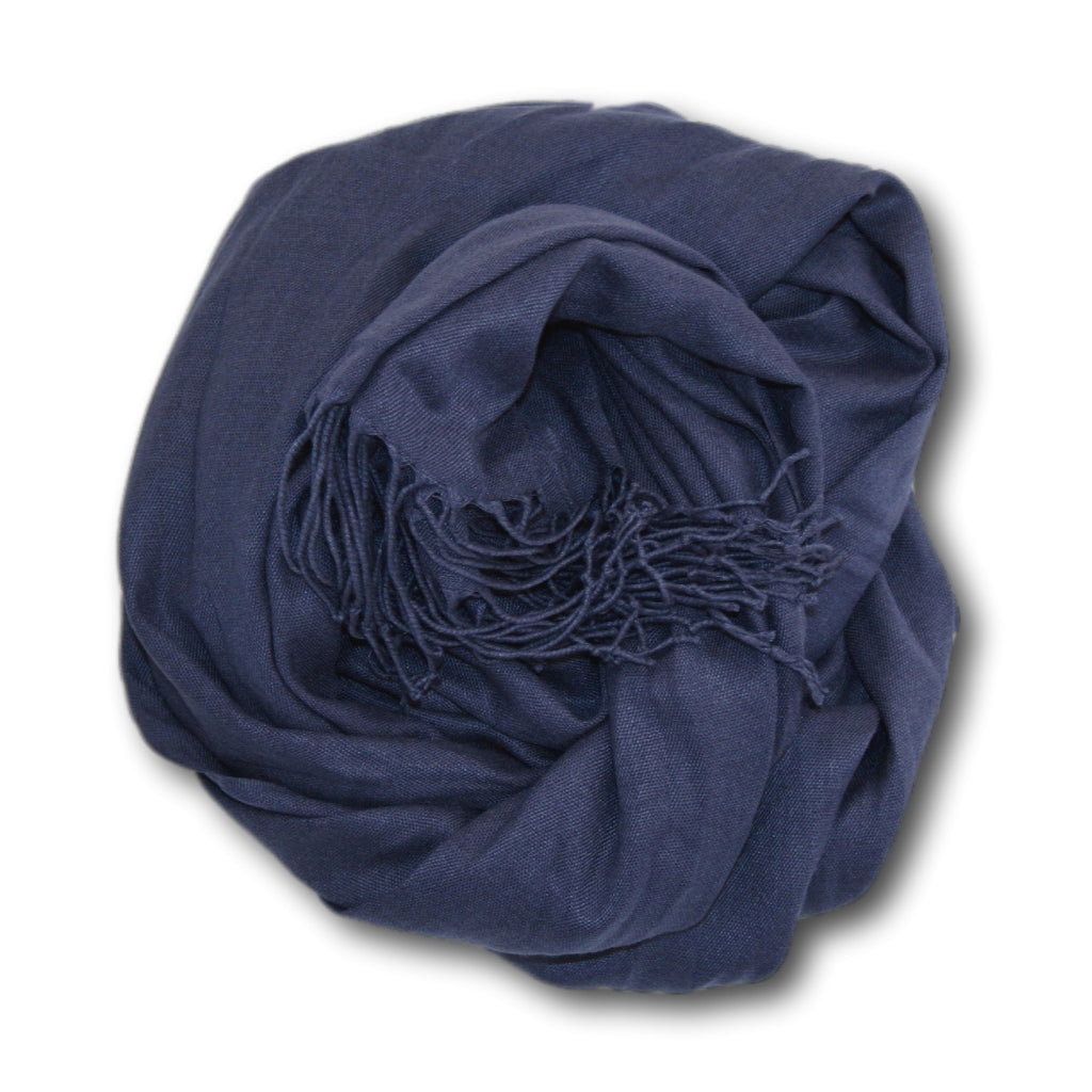 Pashmina-Style Womens Shawl 26 inches wide by 72 inches long Sailor Blue