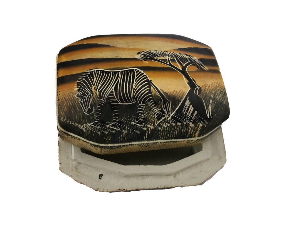 Hand Painted Zebra Soap Stone Keepsake Box