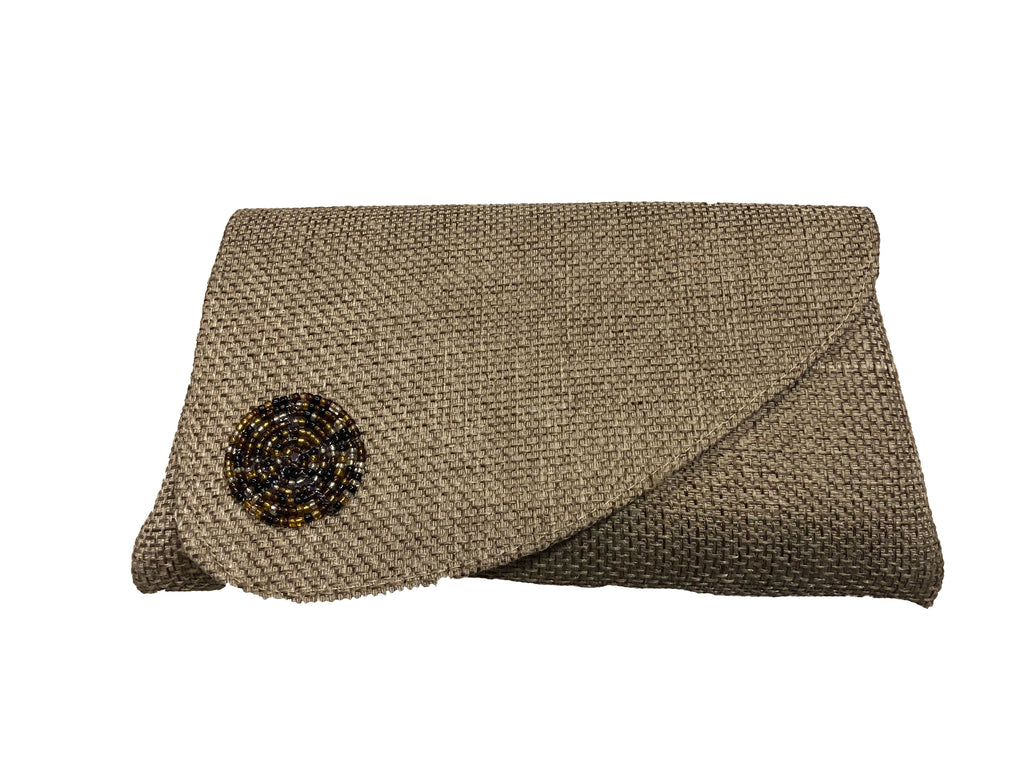 Handcrafted Beaded Masaai Fabric and Jute Clutch Purse - ZAWADEE