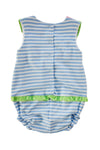 FLORENCE EISEMAN STRIPE KNIT ROMPER WITH WATERMELON