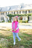 THE BEAUFORD BONNET COMPANY HOLLY VAUGHN VEST - HAMPTONS HOT PINK WITH PARK CITY PERIWINKLE