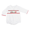 LA LUNA SMOCKED CHRISTMAS TRAIN LONG SLEEVE BUBBLE